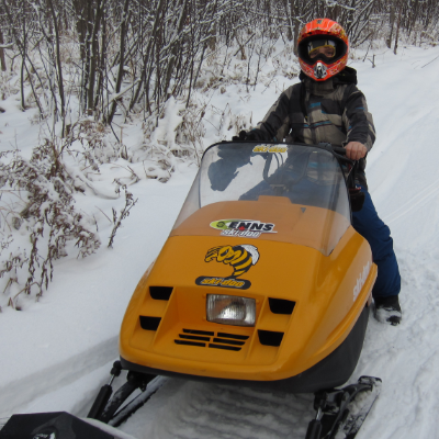 A young rider gets ready to cruise the trails in Lac du Bonnet.