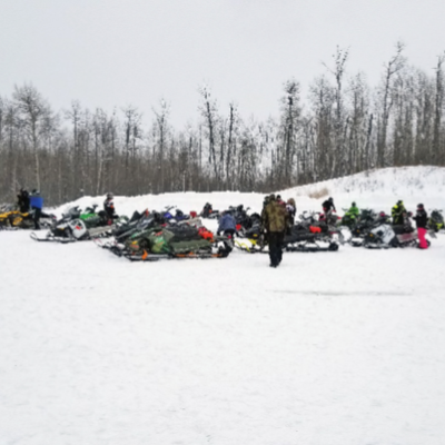 The Alberta Beach Snowmobile Club gets ready for a ride.