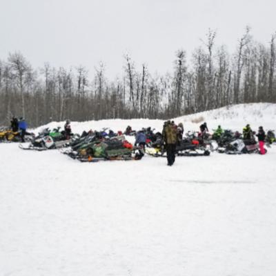 The Alberta Beach Snowmobile Club gets ready for a ride.