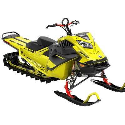 A yellow 2020 Ski-Doo Summit 850 E-TEC from an angular front view.