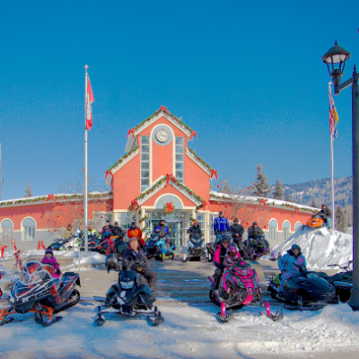A group of sledders gather at Tumbler Ridge Town Hall.