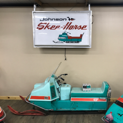 Larson's favourite sled is his 1967 Johnson Skee Horse 20-inch track.