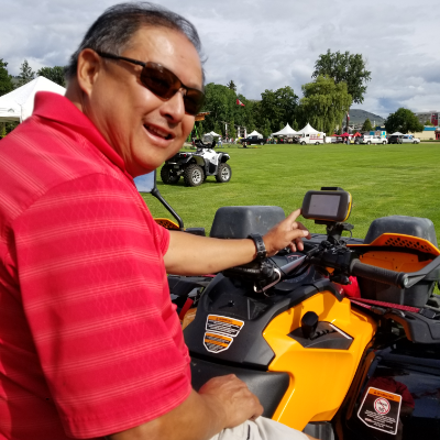 Grahame Go uses a Montana 600 GPS on his Can-Am Outlander 850 Two-Up.