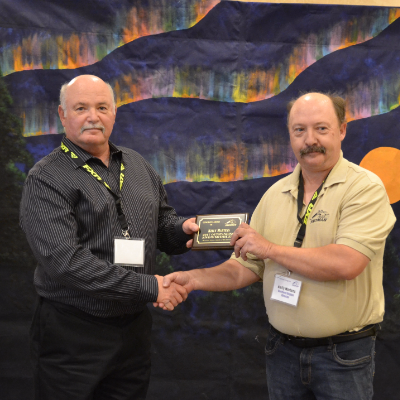 Kelly Martens from Thompson, Manitoba, received SnoMan Inc.'s 2017 Excellence Award for Outstanding Snowmobiler of the Year.