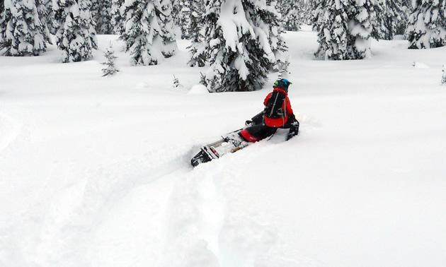 Kirsten Armleder sidehills downhill through the powder.