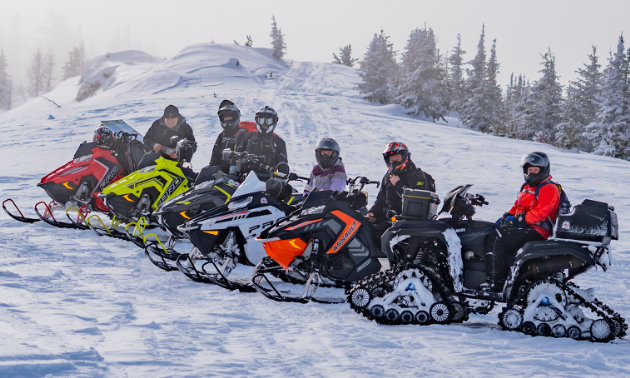 Snowmobilers pose on snowy trail.