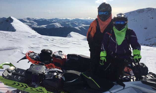 Les L'Heureux rides a 2017 Ski-Doo 850 Summit X and Amanda L'Heureux rides a 2018 Ski-Doo 850 Freeride.