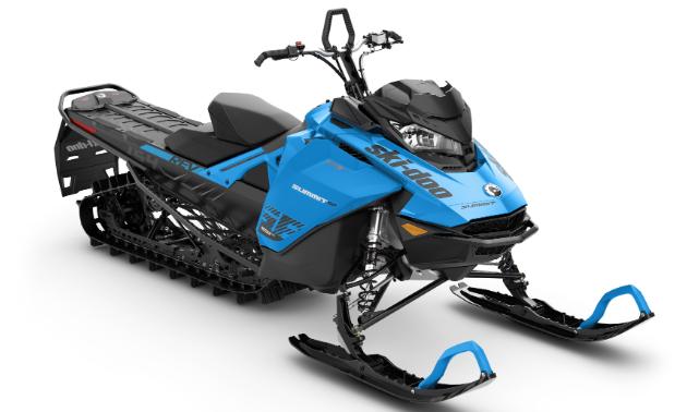 A blue and black Ski-Doo Summit.