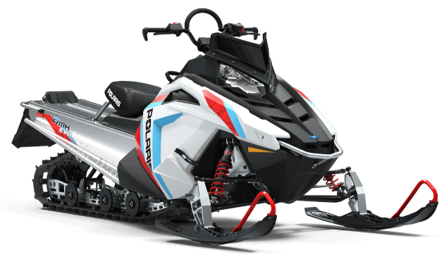 RMK EVO. The RMK EVO is the perfect fit for new off-trail riders. It is designed to put a rider comfortably in control to help them develop skills and confidence. The sled has a 144-inch track for off-trail traction and flotation and a 550 fan-cooled engine with just the right power for a new rider. An accessory EVOlution Kit is available to increase suspension travel and access more power from the 550 engine as a rider's confidence grows.