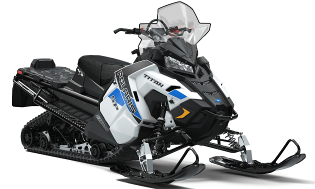 TITAN. Polaris TITAN models are the world's most-capable crossover sleds as they have 20-inch-wide high-flotation tracks, impressive cargo and towing capacity to tackle big jobs, electric start, reverse, and a high-performance attitude that makes them incredibly fun to ride.