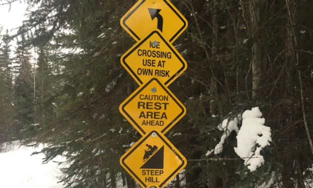 Four yellow signs in front of trees next to a snowmobile track.
