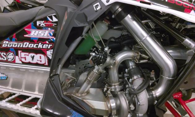 A close up of Chris Burandt's BoonDocker turbo kit.