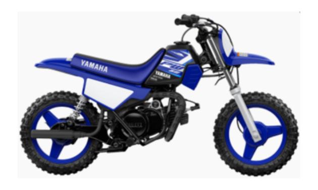 A youth-sized dark blue 2020 Yamaha PW50 (two-stroke)
