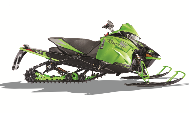 A stock photo of a green Arctic Cat Alpha.