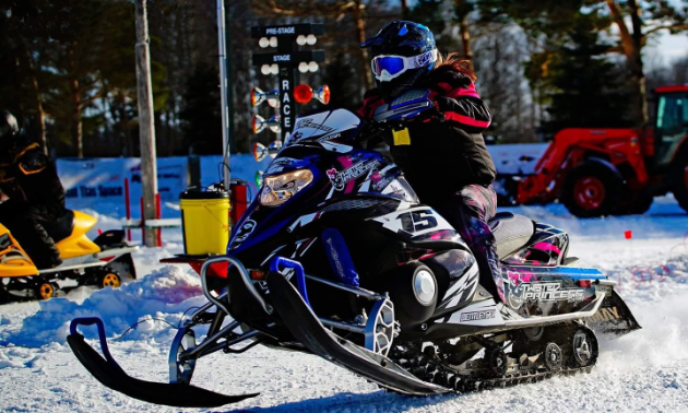 One of Courtney Fender's racing snowmobiles is a 2008 Yamaha Nytro.