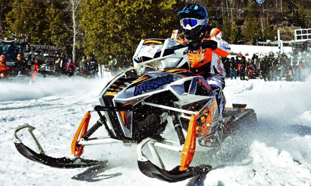 One of Courtney Fender's racing snowmobiles is a 2015 Arctic Cat Turbo.