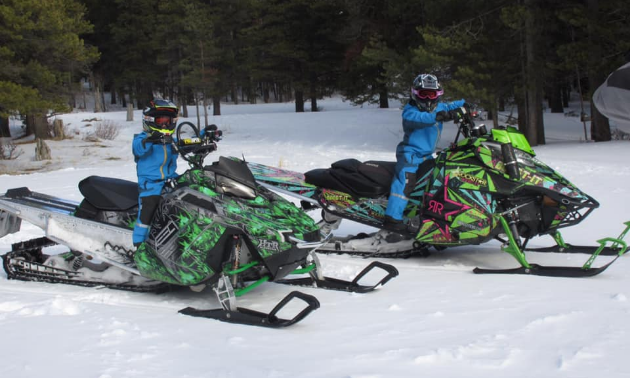 Alyssa and Brandon Plaza are stoked to have a snowmobile mentor to look up to in Kelsey Poelt.