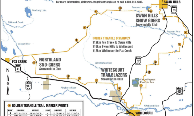 A trail map of the Golden Triangle Trail