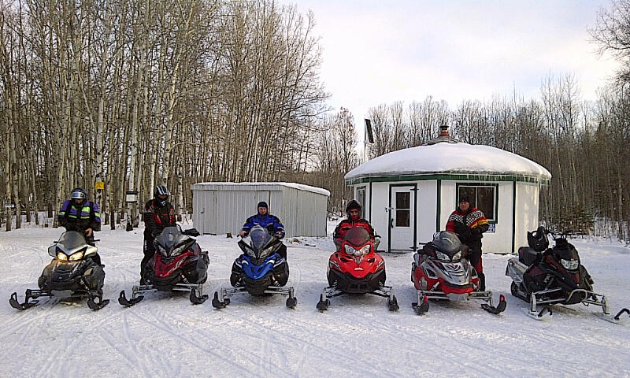 Heading out on ride in the Greenwater Lake area from Rosie's Roundhouse Shelter.