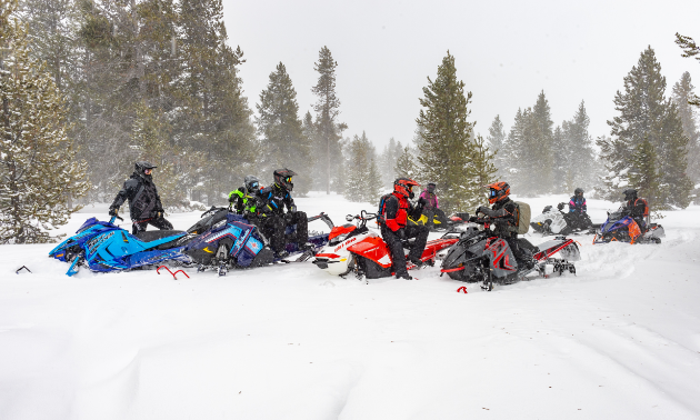 A group of snowmobiles congregate to take a break and visit.