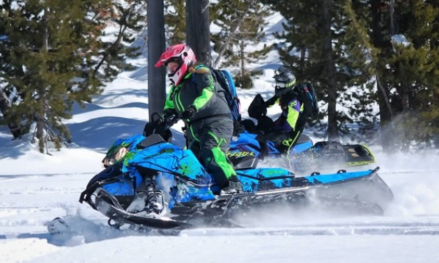 Kadie McCallum wears a pink helmet with a green and black coat and rides a blue and green snowmobile through fresh powder.