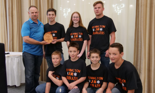 Kelvington Junior Trailblazers: SSA chairman of the board Rick Dolezsar presents award to (Top left) Quinton Hartl, Shelsie Bisschop, Grayson Cherkas, (bottom) Austin Bisschop, Logan Robinson, Corwin Hartl, Owen Robinson.