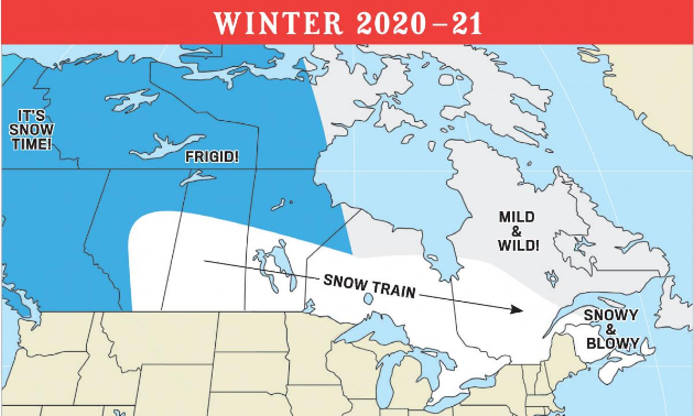 The Old Farmer's Almanac weather map of Canada for winter 2020-2021.