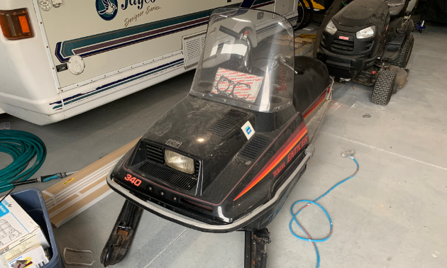 An old 1980 Enticer 340 snowmobile.