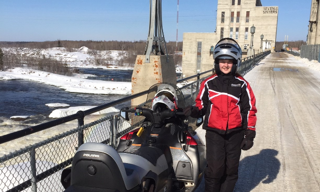 Peter Koehn and his daughter, Victoria (pictured), enjoy going for rides through the Pinawa and Lac du Bonnet areas in Manitoba. Here they are atop the power station at Seven Sisters Generating Station.