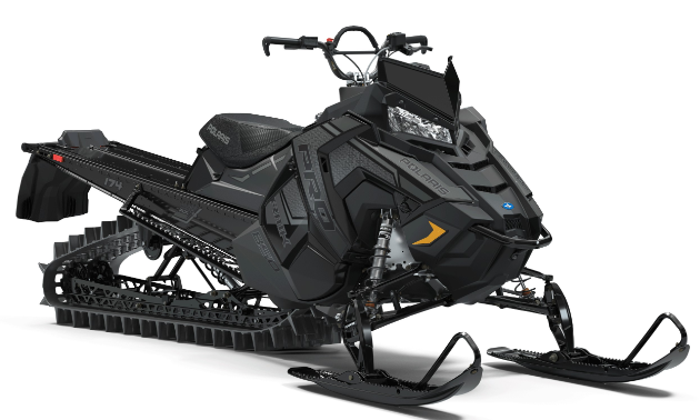 A stock photo of a black Polaris RMK 850.