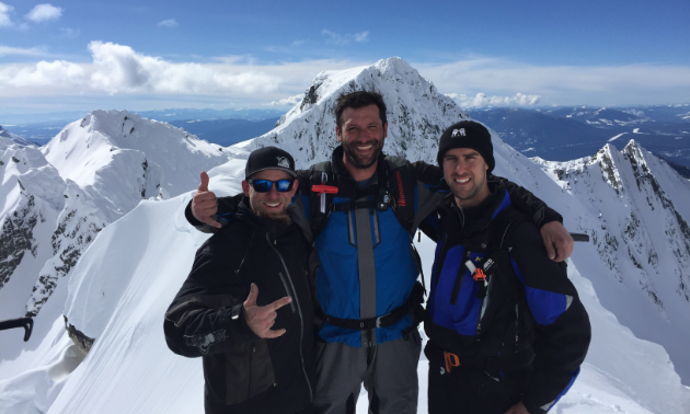 Sheldon Kelly (on the right) ascended Fisher Peak with best friends Tyler and Dan.