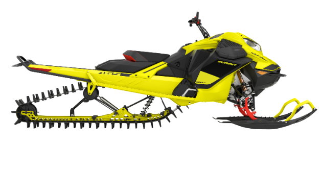 A yellow 2020 Ski-Doo Summit 850 E-TEC from a side view.