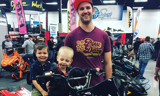 """This rad dad rider brought along his boys to get them geared up and ready to ride,"" said Jason Woods. ""Two future sledheads in the making."""