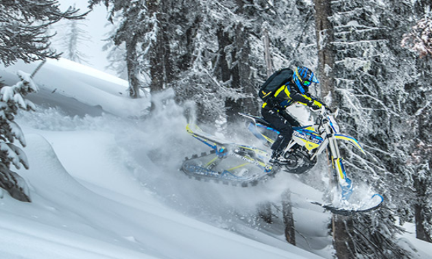 A blue and yellow snow bike gets powdered air through frosty trees.