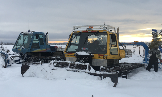 The Fort Nelson Snowmobile Club has two groomers and drags, both Bombardier. One is a BR400 and the other is an MP PLUS.