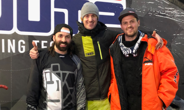 World-class X Games snowmobilers Brett Turcotte, Cody Borchers and Daniel Shaffer performed snowmobile stunts at CBK-X Winter Blitzville.