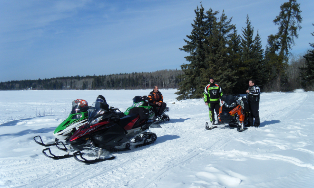 Snowmobilers enjoy trails near Cold Lake. The Iron Horse Trail runs over 300 kilometres of groomed trail from Cold Lake and Heinsburg in the east to Waskateneau in the west.