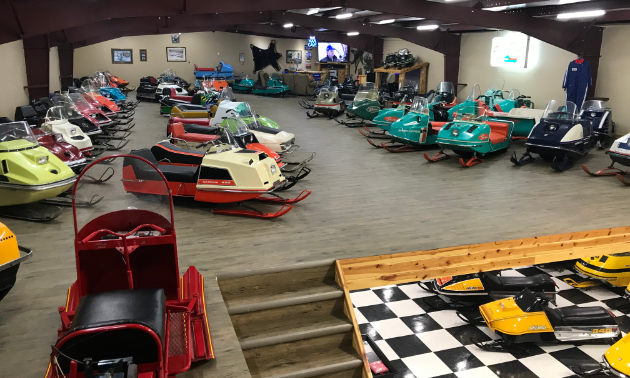 The second floor of Lorne's Vintage Sleds has a collection of snowmobiles and other kinds of memorabilia.