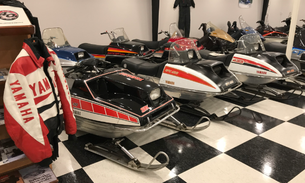 Some of Larson's Yamaha's are on display in Lorne's Vintage Sleds