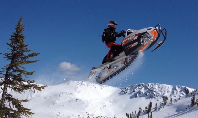 Rylan Hladun takes to the air in Houston on his Arctic Cat.