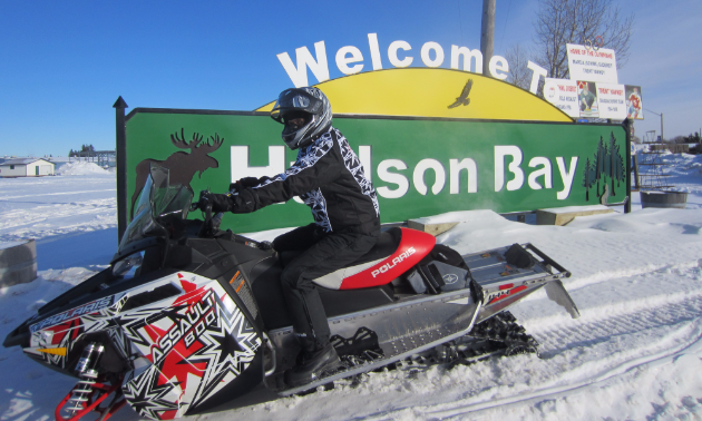 Corrina Kapeller rides by the entrance to Hudson Bay.