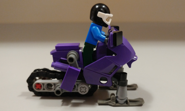 Side view of Lego snowmobile