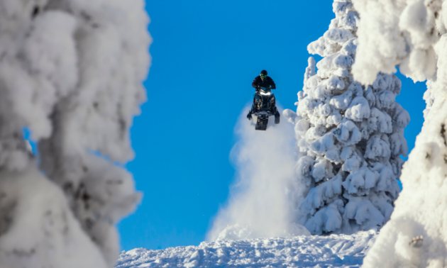 Logan Thibodeau takes to the air among snow-covered trees