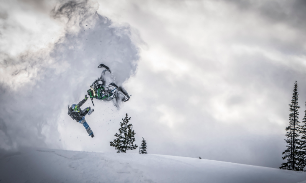 Logan Thibodeau's snowmobile gets away from him over a jump