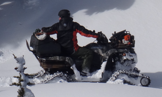 An ATV with tracks