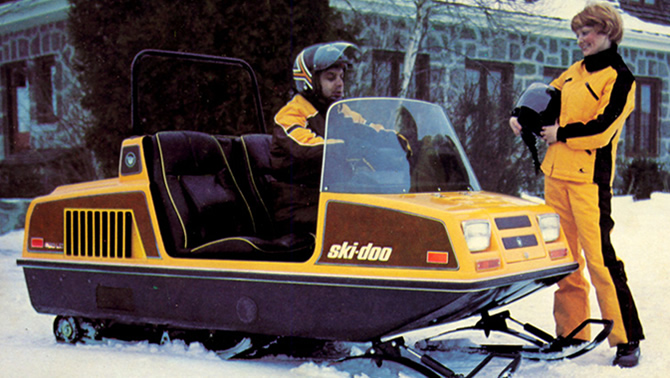 Picture of the original Elite two-seater snowmobile, which was introduced in 1973.