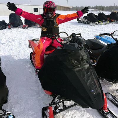 A snowmobiler airing out the new Polaris Patriot 850.
