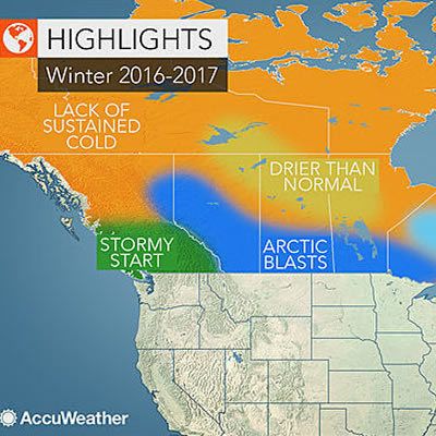 Map of Canada, showing winter forecast.
