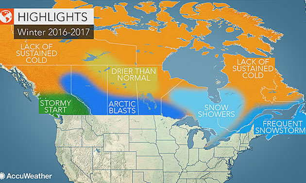 Meteorologist Map To Canada Canada winter forecast: Snowy season to yield best sled conditions