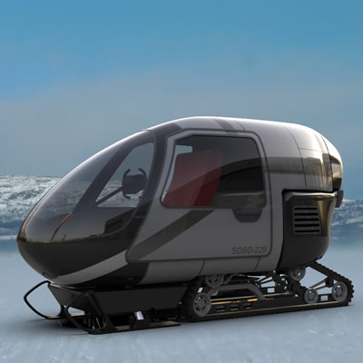 The Alpino is a concept for a recreational ice fishing snowmobile.